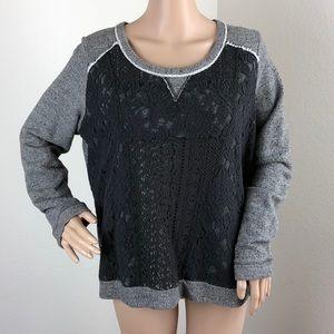 Xhilaration grey lace overlay sweater
